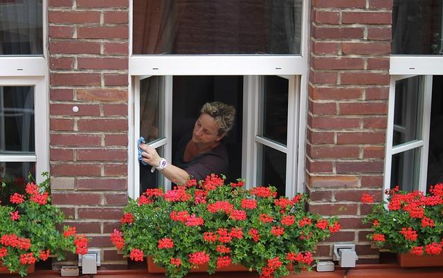 paní při mytí oken